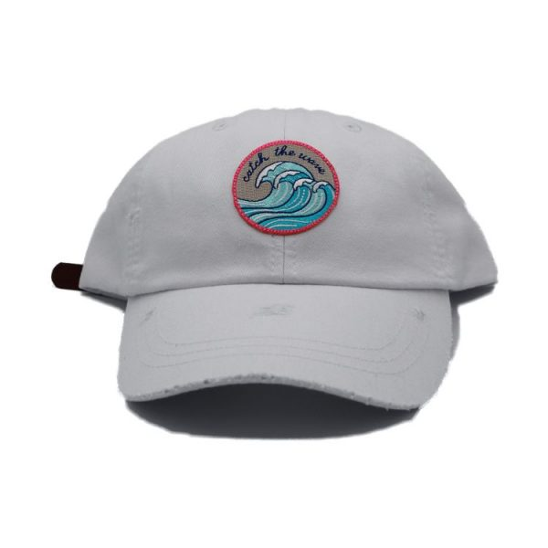 Catch the wave white dad hat 2
