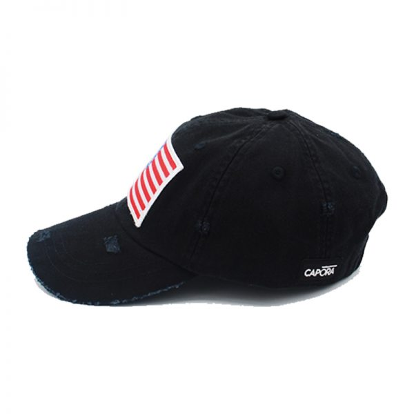 black american flag hat side